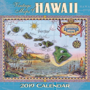"Vintage Maps of Hawaii - Deluxe 11"" x 11"" Wall Calendars"